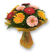 Kiev, Bouquet of different color gerberas